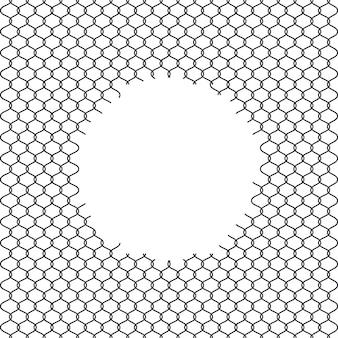 Ogrodzenie ogniwa łańcucha z otworem na białym tle