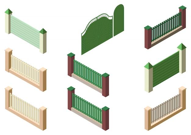 Ogrodzenie ogrodzenia, bramy i furtki zestaw 3d izometryczny elementów na białym tle
