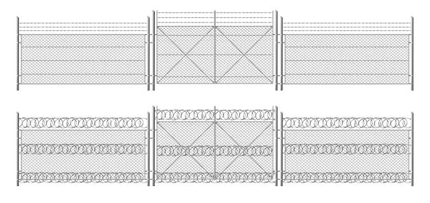 Ogrodzenie z drutu kolczastego, krata z bramą. ogrodzenie z trzech segmentów w kolorze srebrnym, bariera ochronna na obwodzie oddzielona metalowymi stalowymi słupkami