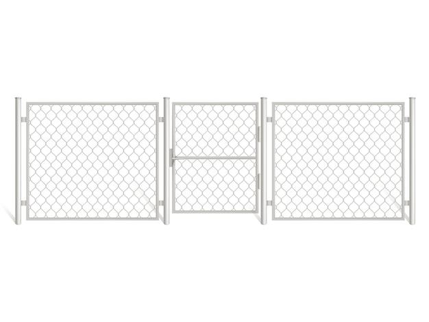 Ogrodzenie z drutu na białym tle.