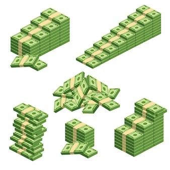 Ogromne paczki papierowych pieniędzy. pakiet z rachunkami gotówkowymi. trzymanie pieniędzy w banku. depozyt, majątek, akumulacja i dziedziczenie. płaskie wektor ilustracja kreskówka pieniądze. obiekty na białym tle.