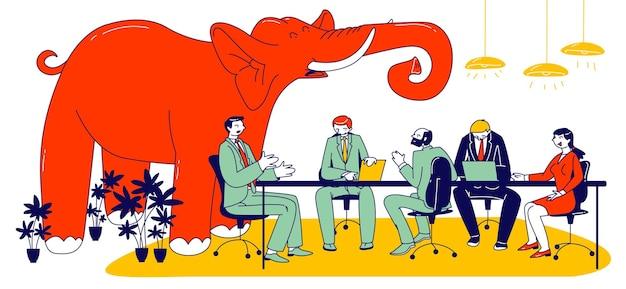Ogromny czerwony słoń trąbka wewnątrz nowoczesnego biura z ludzi biznesu znaków siedzi na posiedzeniu zarządu po rozmowie. pojęcie nierozwiązanych i unikniętych problemów. liniowa ilustracja wektorowa