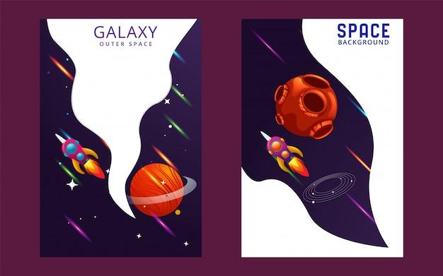 Ogromny wszechświat wektor okładka. zarys ilustracji rakiety kosmicznej