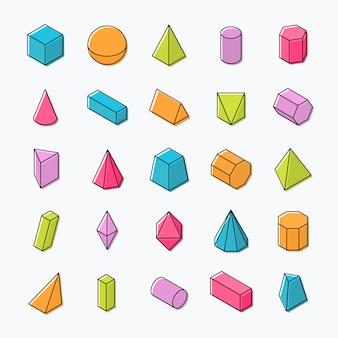 Ogromny zestaw trójwymiarowych kształtów geometrycznych z widokami izometrycznymi.