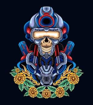 Ogromny żołnierz robot cyborg żołnierz ilustracja