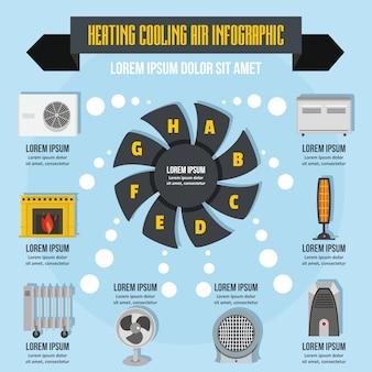 Ogrzewanie fajne powietrze infografika koncepcja, płaski