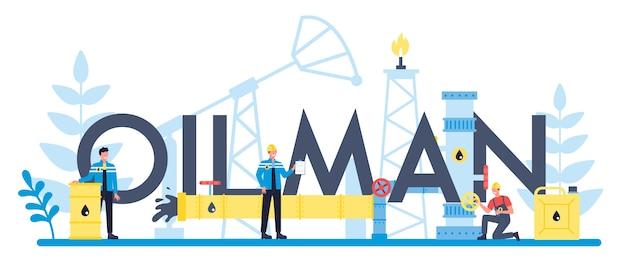 Oilman i koncepcja nagłówka typograficznego przemysłu naftowego. podnośnik pompy wydobywający ropę naftową z wnętrzności ziemi. produkcja i biznes ropy.
