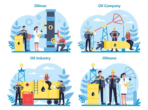 Oilman i zestaw koncepcji przemysłu naftowego. podnośnik pompy wydobywający ropę naftową z wnętrzności ziemi. produkcja i biznes ropy.