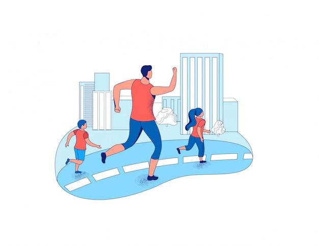 Ojciec biega maraton z dziećmi w mieście