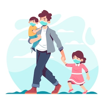 Ojciec chodzenie z dziećmi w masce ochronnej