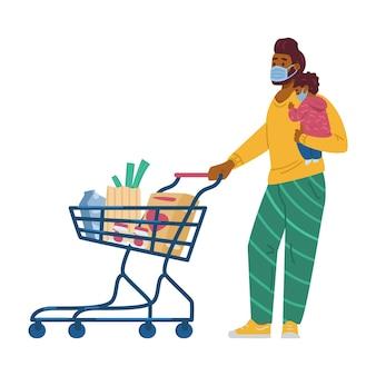 Ojciec i dziecko w maskach na zakupy podczas pandemii płaskiego wektora na białym tle