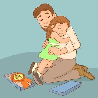 Ojciec i dziewczyna świętują razem.