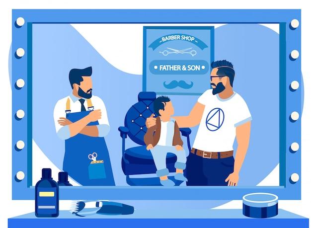 Ojciec i mały syn w zakładzie fryzjerskim, szczęśliwa rodzina