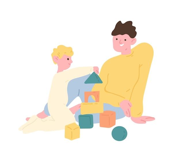 Ojciec i syn bawią się klockami zabawkowymi lub zestawem konstrukcyjnym. tata i dziecko spędzają razem czas w domu. rodzic i dziecko korzystający z wypoczynku. ilustracja wektorowa kolorowy płaski kreskówka.