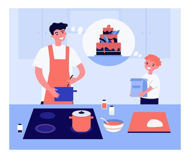 Ojciec i syn co duży tort płaski wektor ilustracja. szczęśliwe dziecko pomaga tacie, trzymając opakowania mąki. mężczyzna w fartuchu mieszanie składników w misce. gotowanie, rodzina, razem, koncepcja kuchni