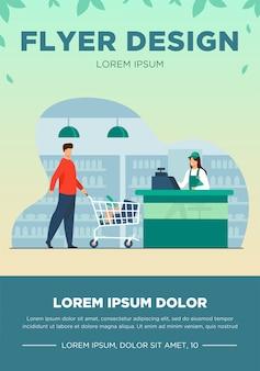 Ojciec i syn kupują jedzenie w supermarkecie. kasjer, wózek, sklep ilustracji wektorowych płaski. zakupy i koncepcja sklepu spożywczego na baner, projekt strony internetowej lub stronę docelową