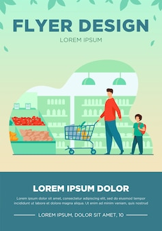 Ojciec i syn kupują jedzenie w supermarkecie. młody mężczyzna i chłopiec na kółkach wózek na zakupy z jedzeniem wzdłuż przejść w sklepie spożywczym. ilustracja wektorowa na rynek, handel detaliczny, kupujących, koncepcja klientów