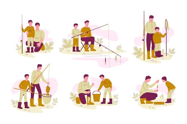 Ojciec i syn łowią ryby. zestaw koncepcji aktywnego wypoczynku rodzinnego.