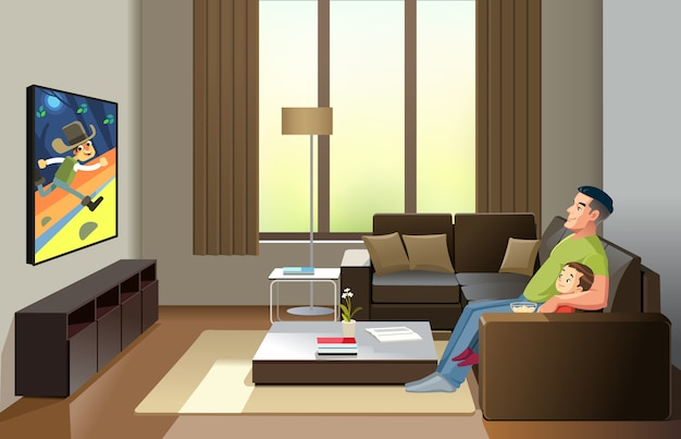 Ojciec i syn oglądają telewizję w domu, spędzają razem czas. koncepcja wypoczynku i rozrywki oraz wychowywanie dzieci przez ojcostwo. ilustracja kreskówka styl na białym tle.