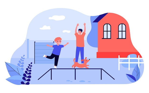 Ojciec i syn szkolenia ślicznego szczeniaka na podwórku. szczęśliwe dziecko bawi się z psem na zewnątrz płaskiej ilustracji wektorowych. rodzina, zwierzęta domowe, koncepcja szkolenia psów na baner, projekt strony internetowej lub stronę docelową
