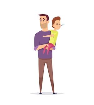 Ojciec i syn. zdziwiony ojciec, chory chłopiec z termometrem. pomiar temperatury, grypa lub przeziębienie lub infekcja wirusowa. na białym tle jeden człowiek trzyma dziecko ilustracja wektorowa. dziecko chore, syn z ojcem