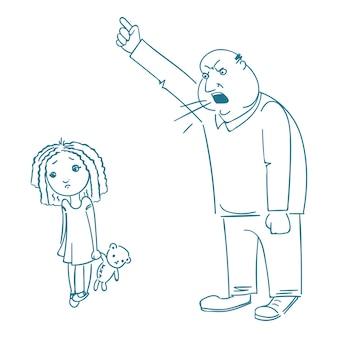 Ojciec karci córkę.