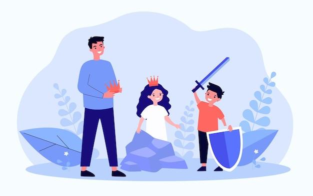 Ojciec lub nauczyciel i dzieci podczas próby szkolnej. chłopiec z mieczem i tarczą, dziewczyna ubrana w koronę płaską wektorową. rodzina, rozrywka, koncepcja klubu teatralnego na baner, projektowanie stron internetowych