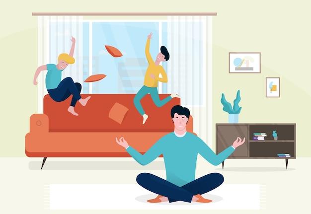 Ojciec medytuje na podłodze podczas zabawy dzieci