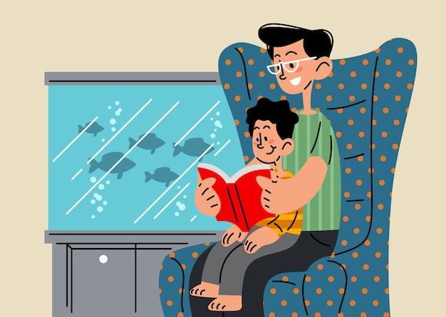 Ojciec opowiadający historię swojemu synowi ilustracji wektorowych