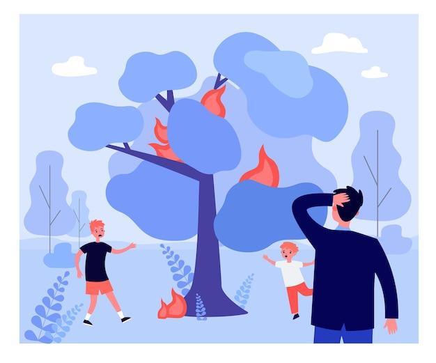 Ojciec patrzący na przestraszone dzieci pod płonącym drzewem. dzieci uciekają od drzewa w ogniu, człowiek drapanie głowy płaska wektorowa ilustracja. pożar lasu, koncepcja ekologii do projektowania banerów lub stron internetowych
