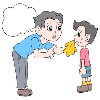 Ojciec pociesza syna, który jest smutny, ilustracji wektorowych sztuki. doodle ikona obrazu kawaii.