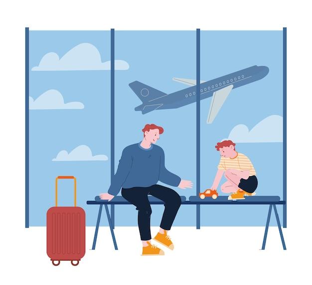 Ojciec podróżujący z synem na letnie wakacje