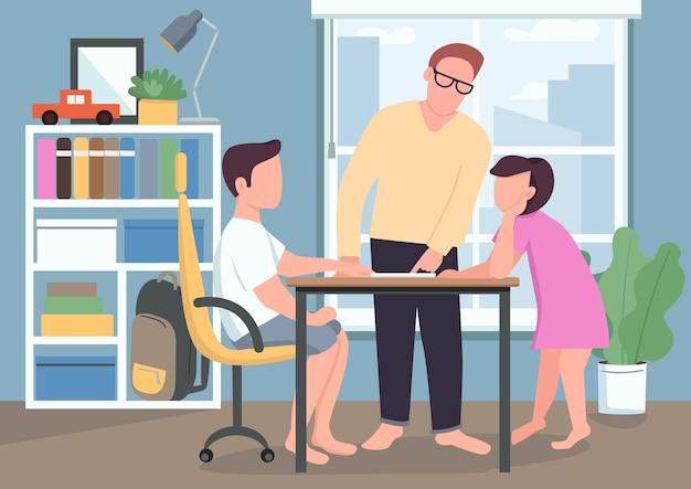 Ojciec pomaga dzieciom z płaskim kolorem pracy domowej. rodzice uczą dzieci. tato wyjaśnia lekcję w podręczniku. syn i córka. rodzina postaci z kreskówek 2d z wnętrzem w tle