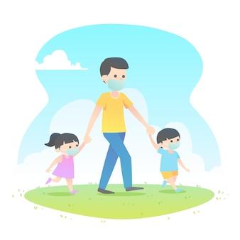 Ojciec spaceruje z dziećmi w maskach medycznych