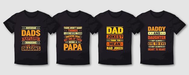 Ojciec tata papa typografia t shirt zestaw napisów