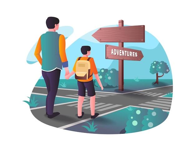 Ojciec trzymający syna na drodze