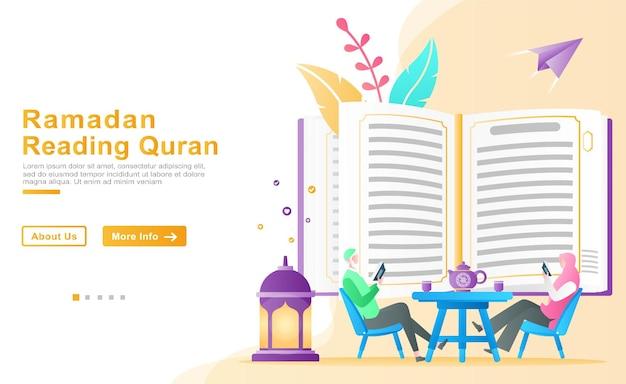 Ojciec uczy swoją córkę czytania i rozumienia koranu w miesiącu ramadanu