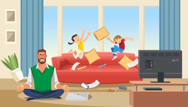 Ojciec w stanie stresu z bawiącymi się dziećmi
