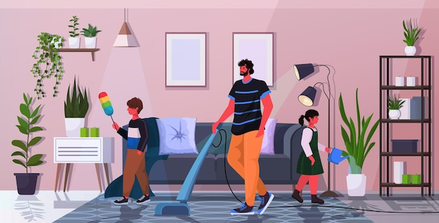 Ojciec z córką i synem bawią się podczas sprzątania rodzicielstwo koncepcja przyjaznej rodziny tata spędza czas z dziećmi w domu na całej długości poziomo