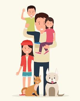 Ojciec z dziećmi i zwierzętami.