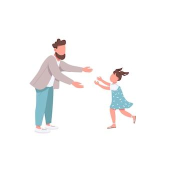 Ojciec z postaciami bez twarzy w kolorze córki. mała dziewczynka biegnie przytulić tatusia. rodzicielstwo, ojcostwo. szczęśliwa rodzina ilustracja kreskówka dla i animacji