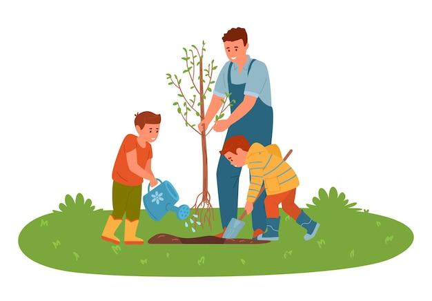 Ojciec z synami sadzą drzewo w ogrodzie chłopiec kopie i podlewa