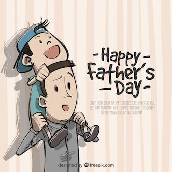 Ojciec z synem na ramionach