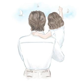 Ojciec ze swoją małą córeczką ręcznie rysowaną ilustracją