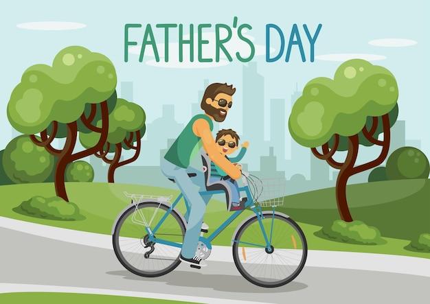 Ojcowie dzień mężczyzna z dzieckiem, jazda na rowerze w parku miejskim szczęśliwy opiekuńczy ojciec i uśmiechnięty syn z ręcznie rysowane litery