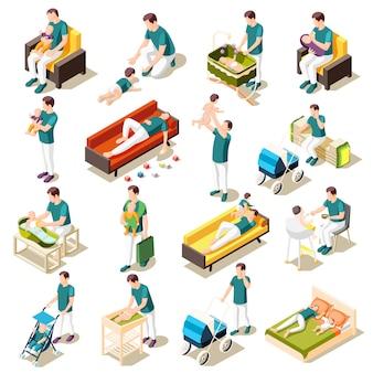 Ojcowie na urlop macierzyński isometric ikonach ustawiać rodzicielstwo codzienne rutynowe łączne gry chodzą i odpoczywają odosobnioną ilustrację