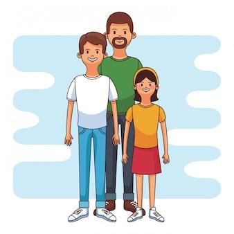 Ojcuje z syna i daugther kreskówki wektorowym ilustracyjnym graficznym projektem