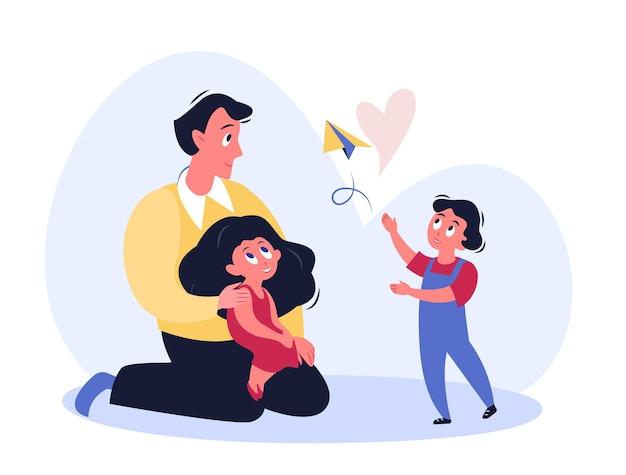 Ojcze czas. tata rodzic bawiący się z dziećmi. dzień ojców, koncepcja rodzicielstwa na białym tle