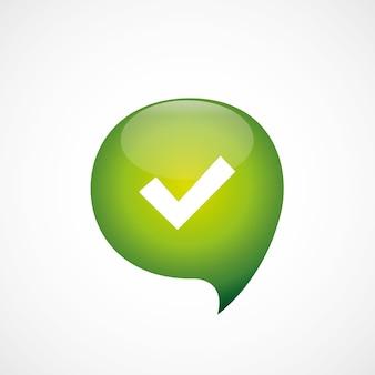 Ok ikona zielona myśl logo symbol bańki, izolowana na białym tle