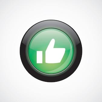 Ok szkło znak ikona zielony przycisk błyszczący. przycisk strony interfejsu użytkownika